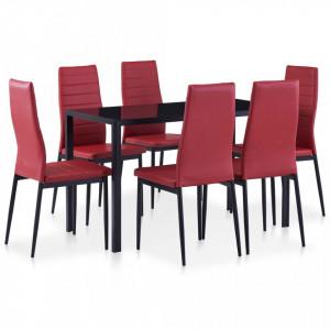 Set mobilier de bucatarie, 7 piese, rosu vin - V281700V