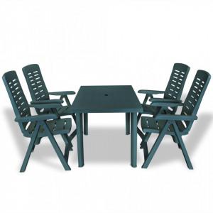 Set mobilier de exterior, 5 piese, verde, plastic - V275079V