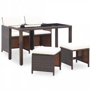 Set mobilier de exterior cu perne, 5 piese, maro, poliratan - V42525V