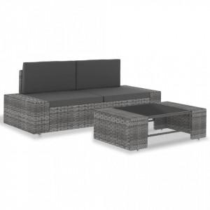 Set mobilier de gradina, 3 piese, gri, poliratan - V49527V