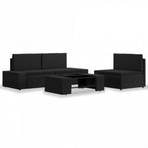 Set mobilier de gradina, 4 piese, negru, poliratan - V3054577V