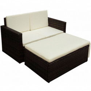 Set mobilier de gradina cu perne, 2 piese, maro, poliratan - V42733V