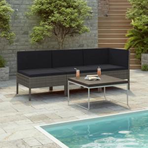 Set mobilier de gradina cu perne, 3 piese, gri, poliratan - V310204V