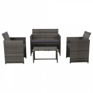 Set mobilier de gradina cu perne, 4 piese, gri, poliratan - V43909V