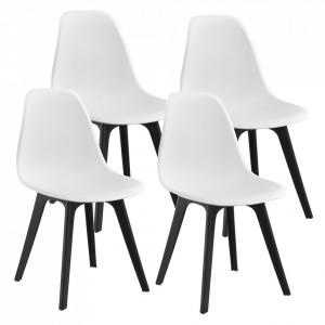 Set patru bucati scaune design Ava, 83 x 54 x 48 cm, plastic, alb/negru - P58616395