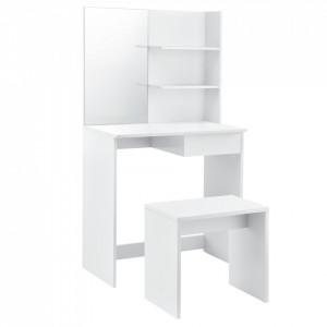Set Siloah masa de toaleta/machiaj cu oglinda si scaun, 141 x 75 x 39,7 cm, PAL, alb - P59480967
