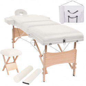Set taburet si masa masaj pliabila 3 zone, grosime 10 cm, alb - V110156V