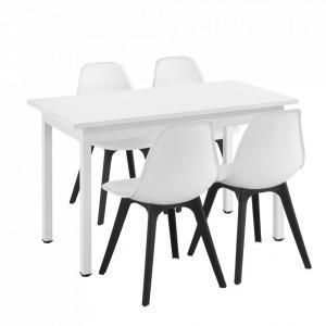 Set Viki masa bucatarie cu 4 scaune, masa 120 x 60 x 75 cm, scaun 83 x 54 x 48 cm, MDF/plastic, alb/alb/negru - P58630808