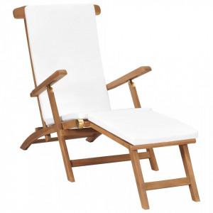 Sezlong cu perna, alb crem, lemn masiv de tec - V47408V