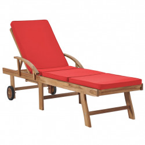 Sezlong cu perna, rosu, lemn masiv de tec - V48026V