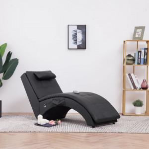 Sezlong de masaj cu perna, negru, piele artificiala - V281344V