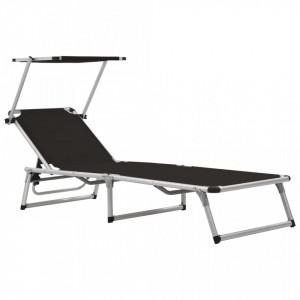 Sezlong pliabil cu acoperis, negru, aluminiu si textilena - V44333V