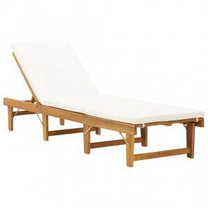 Sezlong pliabil cu perna, lemn masiv de acacia - V46490V