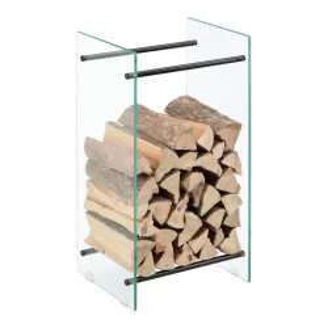 Suport lemne foc Oshawa Glas, 40x80x35cm, otel/sticla securizata, transparent/negru - P71901951