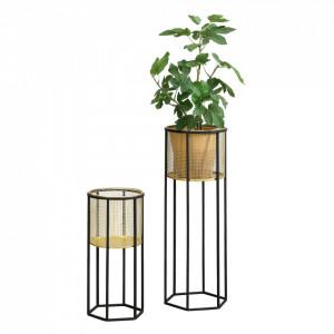 Suport plante 2 bucati ABMM-2164, metal, negru/auriu, masuri diferite - P72332350