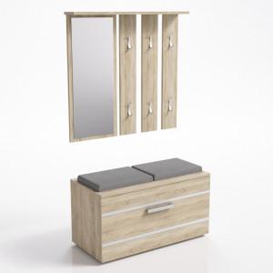 TECUIS102- Set Cuier hol 85 x 35 x 180 cm - Sonoma