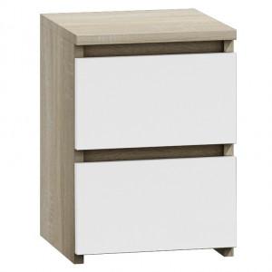 TENO7 - Set 2 Noptiere, 30x30 cm, cu 2 sertare pentru dormitor - Alb, Sonoma, Maro, Maro-Alb, Sonoma-Alb, Alb-Lucios, Negru-Lucios