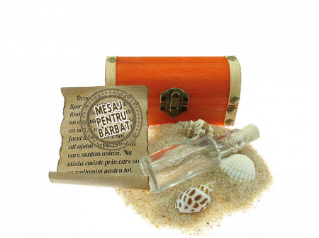 Cadou Barbati personalizat mesaj in sticla in cufar mic portocaliu