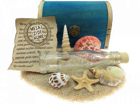 Cadou pentru Onomastica personalizat mesaj in sticla in cufar mare albastru
