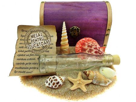 Cadou pentru Educatoare personalizat mesaj in sticla in cufar mare mov
