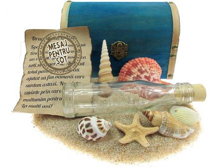Cadou pentru Sot personalizat mesaj in sticla in cufar mare albastru