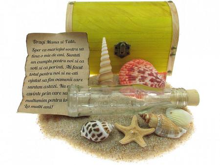 Cadou personalizat mesaj in sticla in cufar mare galben