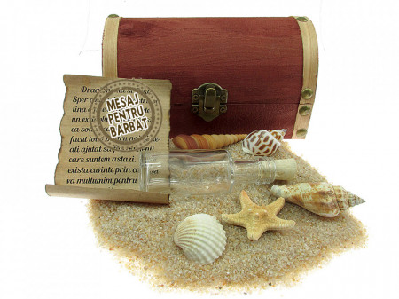 Cadou Barbati personalizat mesaj in sticla in cufar mediu maro