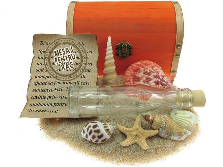 Cadou pentru Rac personalizat mesaj in sticla in cufar mare portocaliu