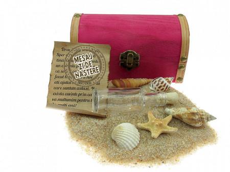 Cadou pentru Zi de nastere personalizat mesaj in sticla in cufar mediu roz