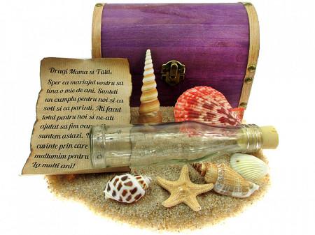 Cadou personalizat mesaj in sticla in cufar mare mov