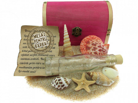 Cadou Barbati personalizat mesaj in sticla in cufar mare roz