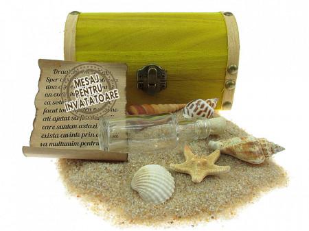 Cadou pentru Invatatoare personalizat mesaj in sticla in cufar mediu galben