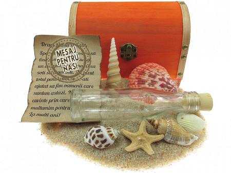 Cadou pentru Nasi personalizat mesaj in sticla in cufar mare portocaliu