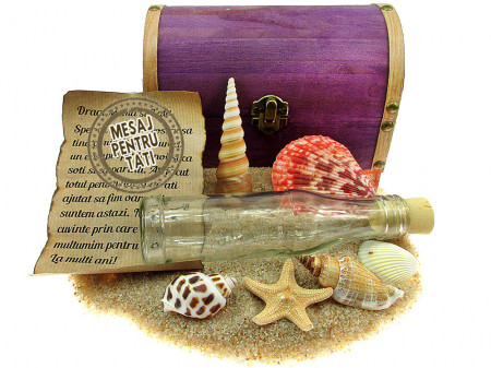 Cadou pentru Tati personalizat mesaj in sticla in cufar mare mov