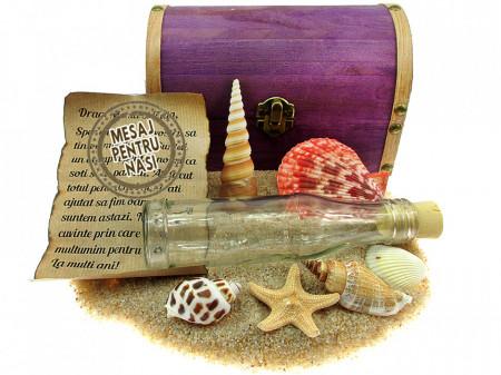 Cadou pentru Nasi personalizat mesaj in sticla in cufar mare mov
