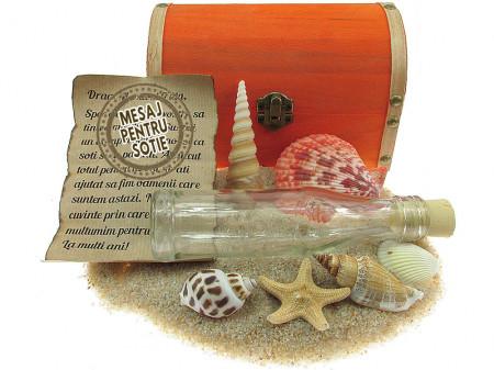 Cadou pentru Sotie personalizat mesaj in sticla in cufar mare portocaliu