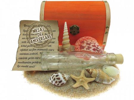 Cadou pentru Aniversare personalizat mesaj in sticla in cufar mare portocaliu