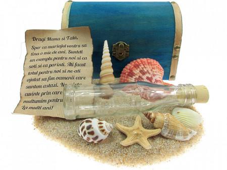 Cadou personalizat mesaj in sticla in cufar mare albastru