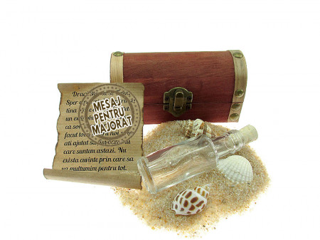 Cadou Majorat personalizat mesaj in sticla in cufar mic maro
