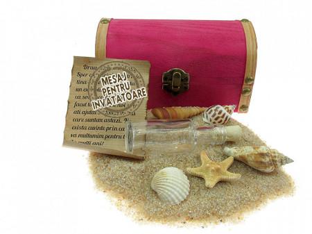 Cadou pentru Invatatoare personalizat mesaj in sticla in cufar mediu roz
