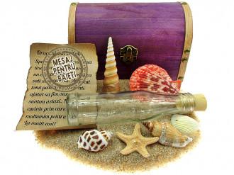 Cadou pentru Baieti personalizat mesaj in sticla in cufar mare mov