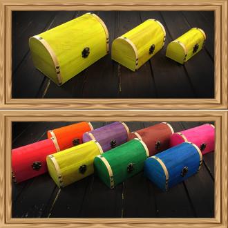 Cadou pentru Iubit personalizat mesaj in sticla in cufar mediu galben