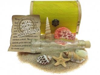 Cadou pentru Ziua Indragostitilor personalizat mesaj in sticla in cufar mare galben
