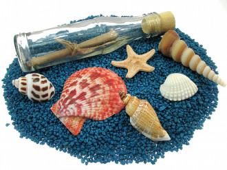 Cadou Majorat personalizat mesaj in sticla in cufar mare albastru