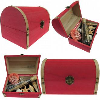 Cadou pentru Onomastica personalizat mesaj in sticla in cufar mare rosu