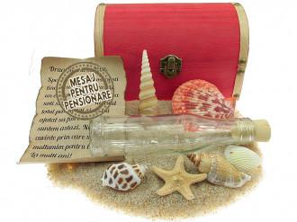 Cadou pentru Pensionare personalizat mesaj in sticla in cufar mare rosu