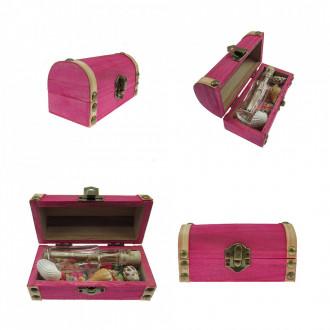 Cadou Barbati personalizat mesaj in sticla in cufar mic roz