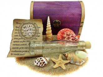 Cadou pentru Fete personalizat mesaj in sticla in cufar mare mov