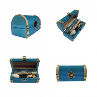 Cadou pentru Soacra personalizat mesaj in sticla in cufar mic albastru