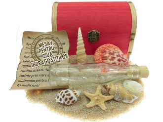 Cadou pentru Ziua Indragostitilor personalizat mesaj in sticla in cufar mare rosu